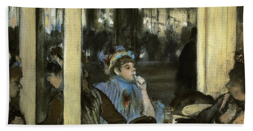 Drinking Hand Towel featuring the painting Women On A Cafe Terrace by Edgar Degas