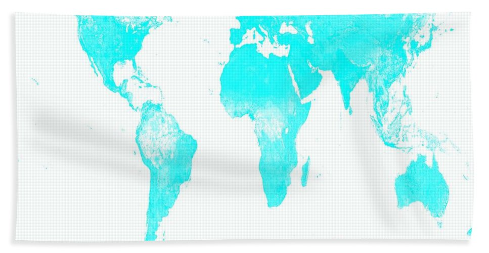 Map Hand Towel featuring the photograph World Map by Johari Smith