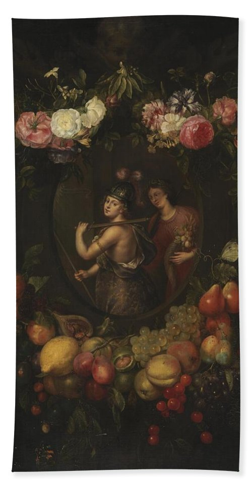 Wreath With Value And Abundance Bath Sheet featuring the painting Wreath With Value And Abundance by MotionAge Designs