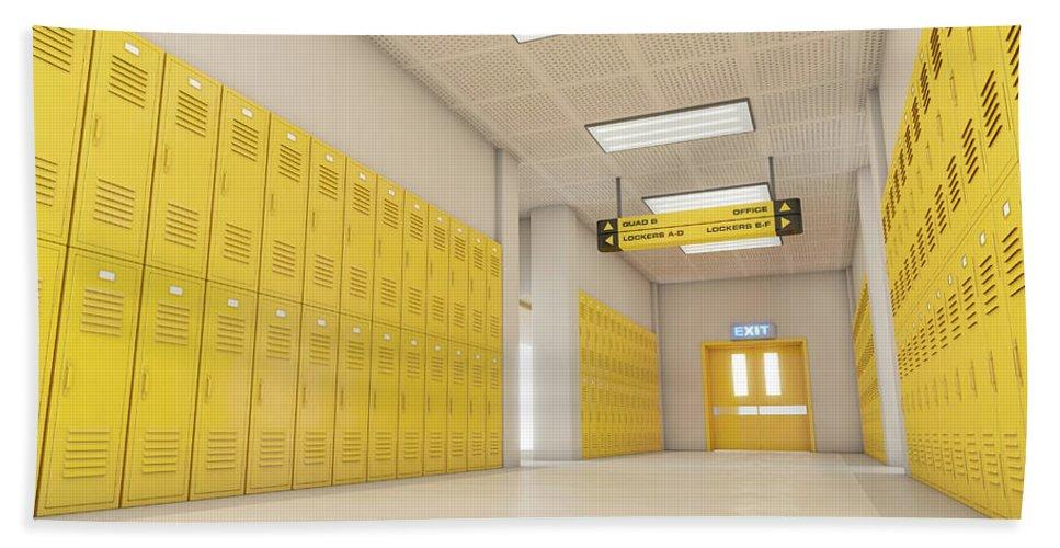 Locker Hand Towel featuring the digital art Yellow School Lockers Light by Allan Swart
