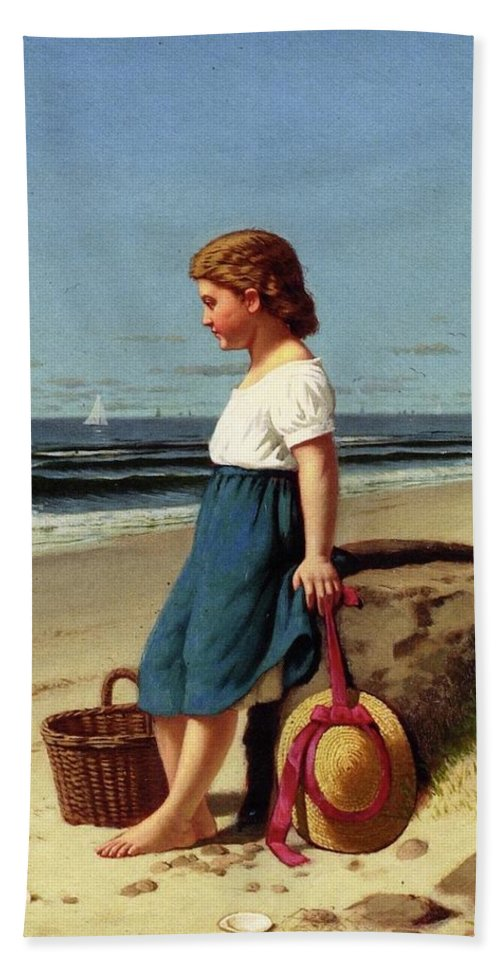 Young Girl At The Seashore By Samuel S Carr Bath Sheet featuring the painting Young Girl At The Seashore by Samuel S Carr