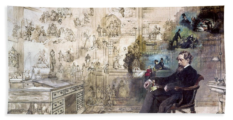 1870s Bath Towel featuring the painting CHARLES DICKENS - Dickens' Dream by Robert William Buss