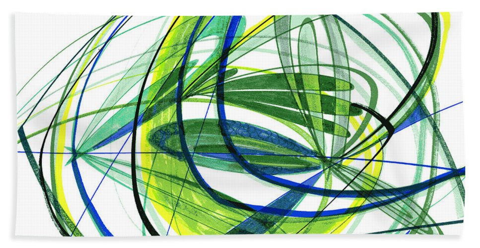 Abstract Bath Sheet featuring the drawing 2007 Abstract Drawing 4 by Lynne Taetzsch