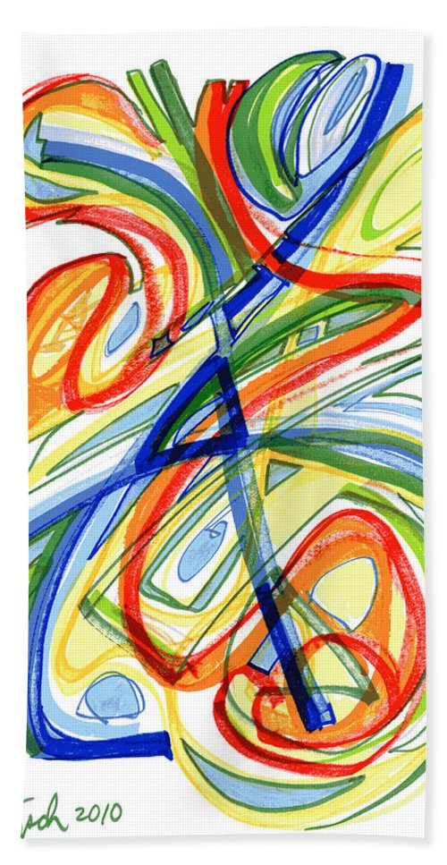 Abstract Art Bath Sheet featuring the drawing 2010 Abstract Drawing Eight by Lynne Taetzsch