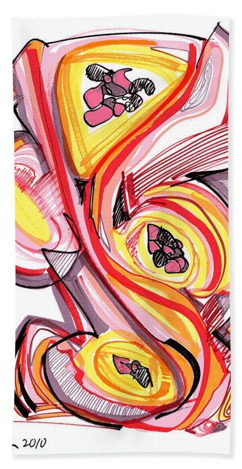 Abstract Art Hand Towel featuring the drawing 2010 Abstract Drawing Nine by Lynne Taetzsch