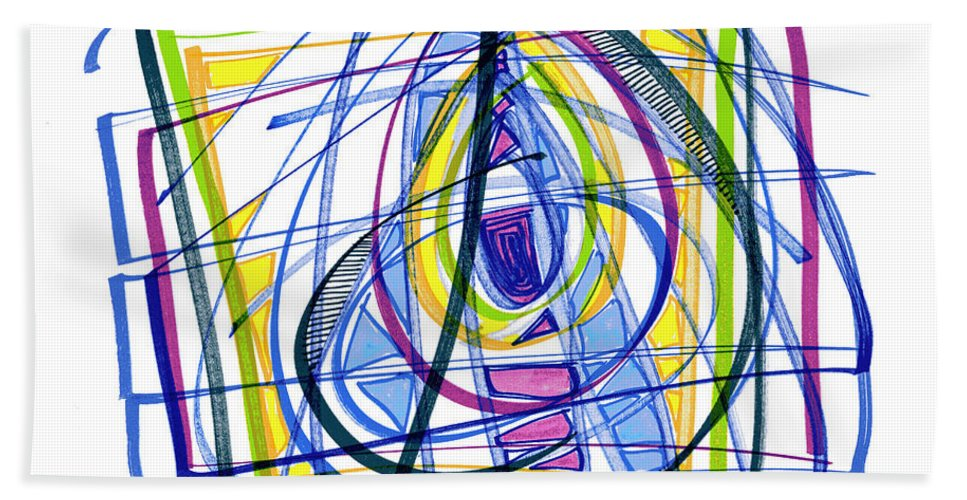 Abstract Art Bath Sheet featuring the drawing 2010 Abstract Drawing Nineteen by Lynne Taetzsch