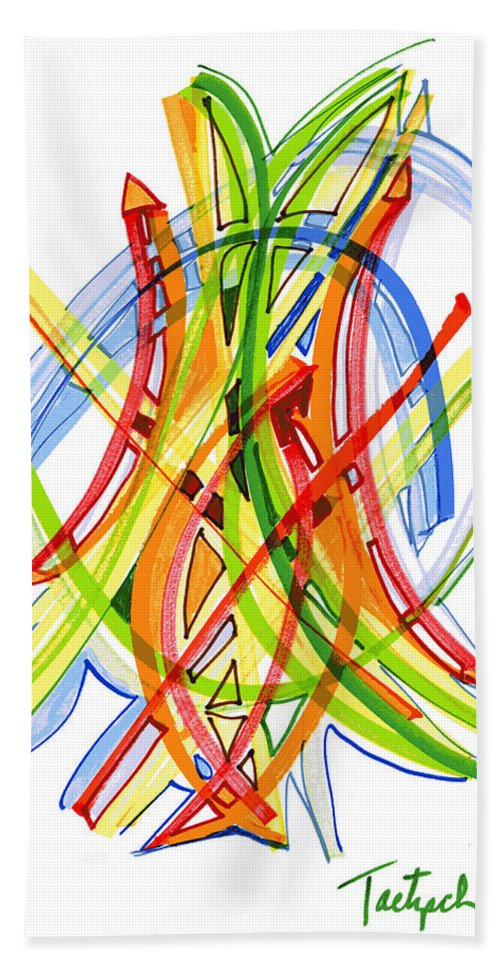 Abstract Art Hand Towel featuring the drawing 2010 Abstract Drawing Seven by Lynne Taetzsch