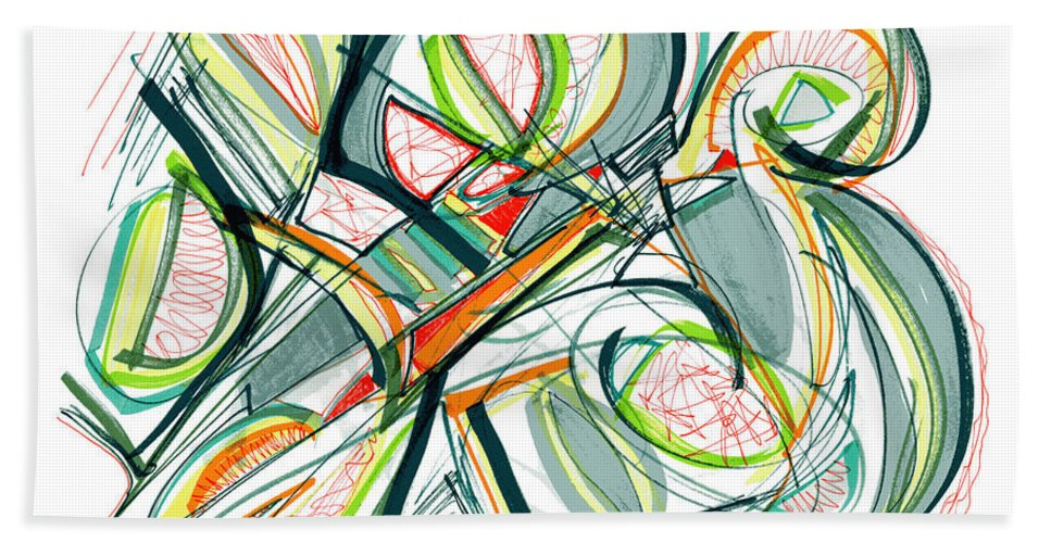 Abstract Art Bath Sheet featuring the drawing 2010 Abstract Drawing Seventeen by Lynne Taetzsch