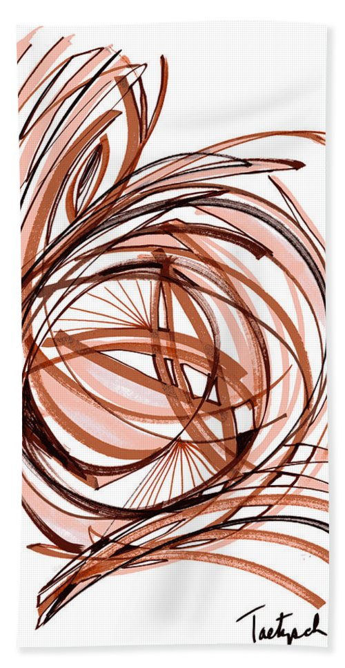 Abstract Art Hand Towel featuring the drawing 2010 Abstract Drawing Six by Lynne Taetzsch