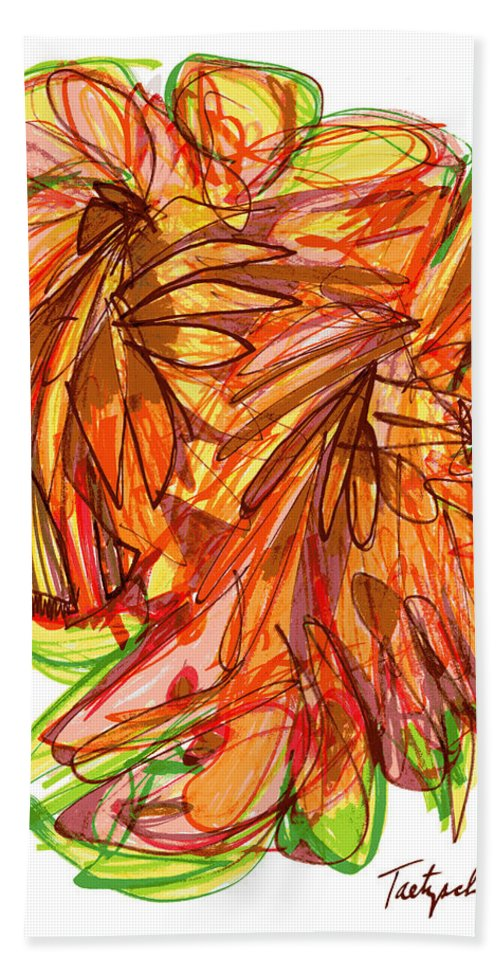 Abstract Art Bath Sheet featuring the drawing 2010 Abstract Drawing Ten by Lynne Taetzsch