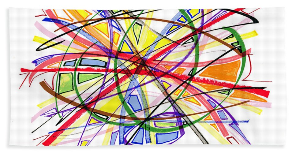 Abstract Art Bath Sheet featuring the drawing 2010 Abstract Drawing Twelve by Lynne Taetzsch