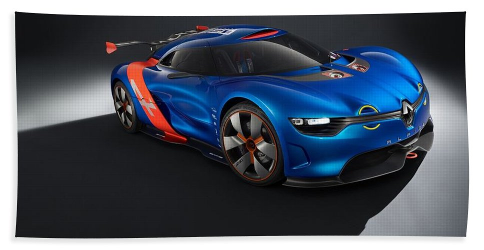 2 Renault Alpine A110 0 Hand Towel featuring the digital art 2012 Renault Alpine A110 50 by Mery Moon