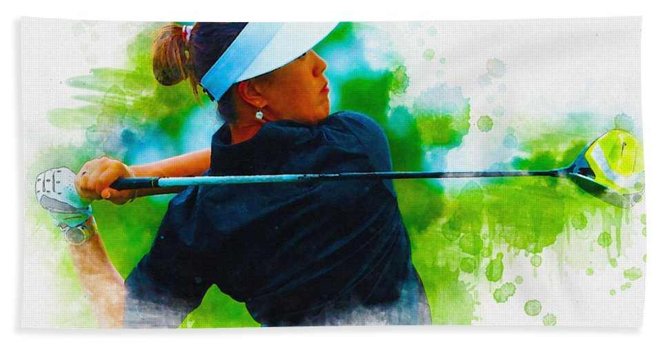 Art & Collectibles Hand Towel featuring the digital art 2014 Blue Bay Lpga Championship by Don Kuing