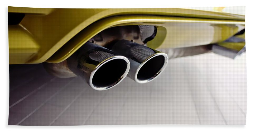 2015 Bmw M4 Hand Towel featuring the photograph 2015 Bmw M4 Exhaust by Aaron Berg