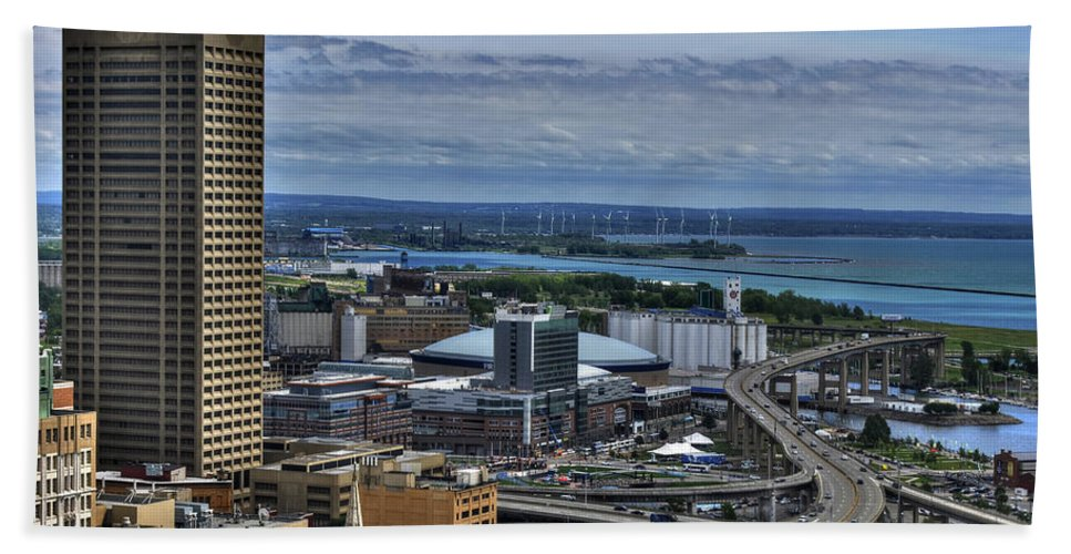 Buffalo Hand Towel featuring the photograph 2015 View Of The Skyway And New Harbor by Michael Frank Jr