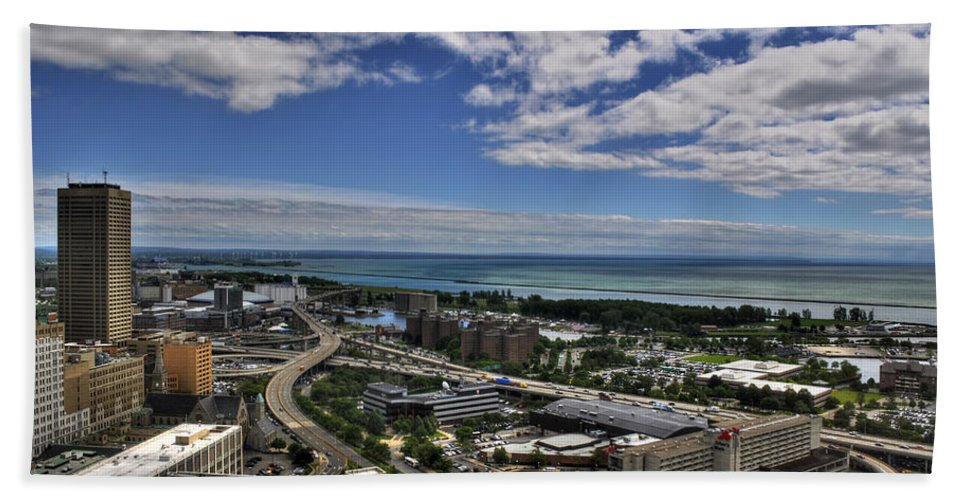 Buffalo Hand Towel featuring the photograph 2015 View Of The Skyway by Michael Frank Jr