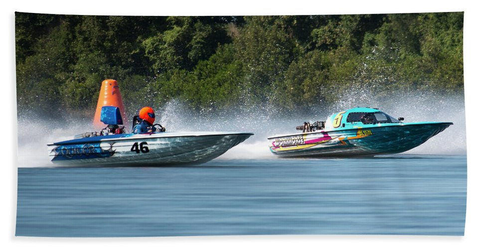 2017 Taree Race Boats Hand Towel featuring the digital art 2017 Taree Race Boats 08 by Kevin Chippindall