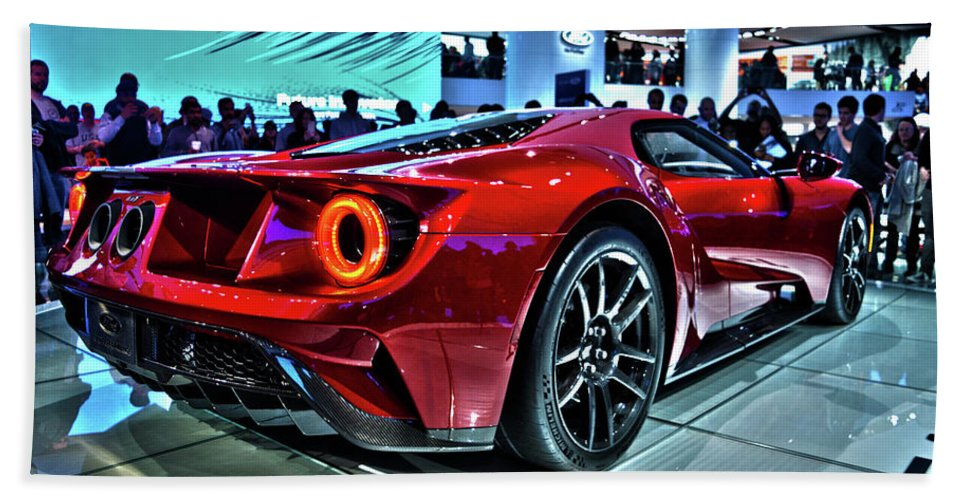 Hand Towel Featuring The Photograph  Ford Gt By Adam Kushion