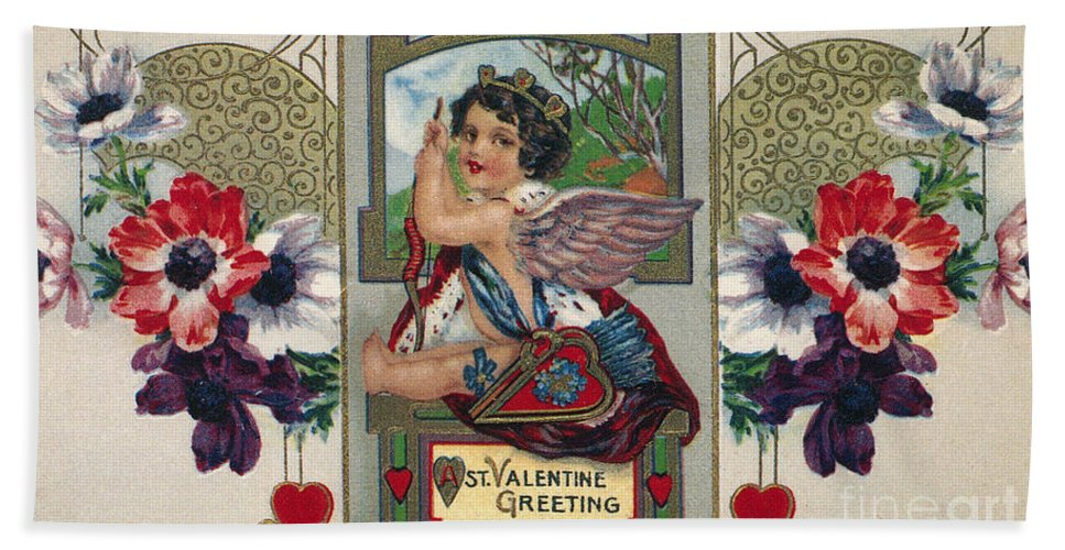 1912 Hand Towel featuring the photograph Valentines Day Card by Granger