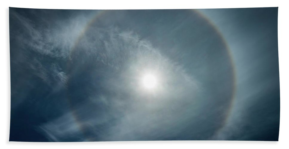 22 Degree Halo Hand Towel featuring the photograph 22 Degree Solar Halo by William Freebilly photography