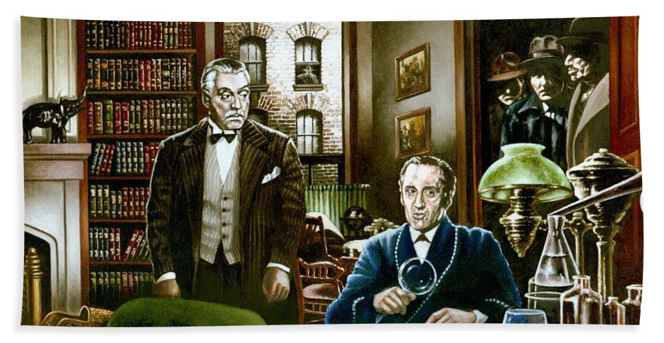 Sherlock Holmes Bath Sheet featuring the painting 221 B Baker Street by Michael Frank