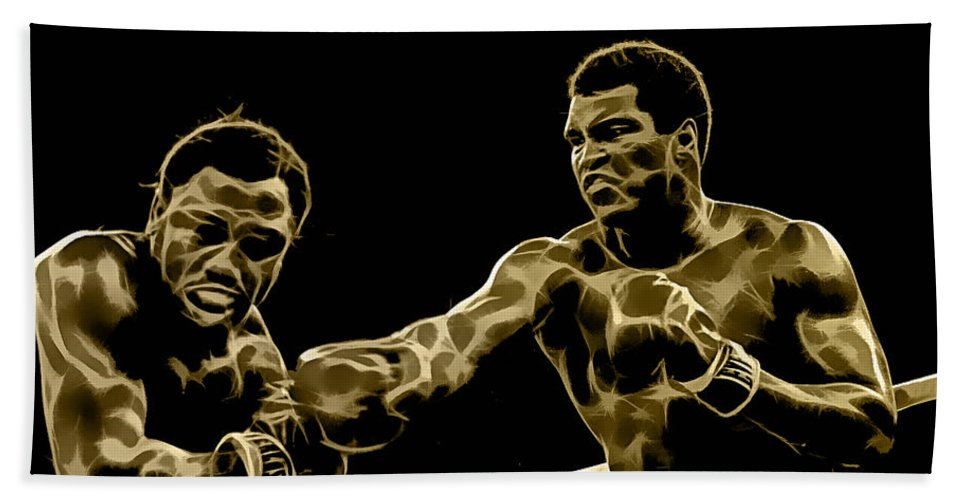 Sports Hand Towel featuring the mixed media Muhammad Ali Collection by Marvin Blaine