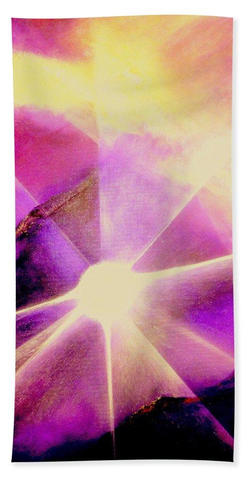 Sunrise.light Hand Towel featuring the painting Rising Sun by Kumiko Mayer