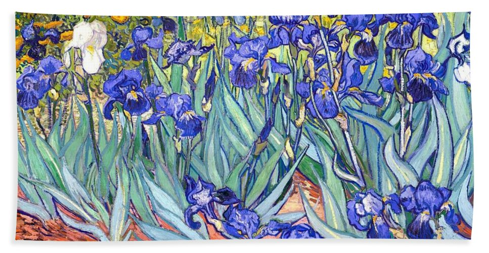 Van Gogh Hand Towel featuring the painting Irises by Vincent Van Gogh