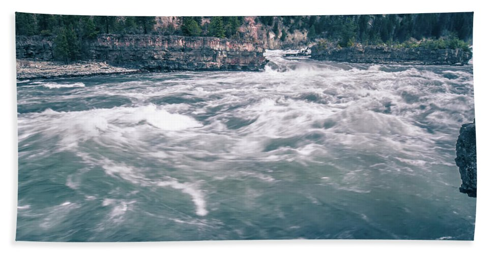 Falls Bath Sheet featuring the photograph Kootenai River Water Falls In Montana Mountains by Alex Grichenko