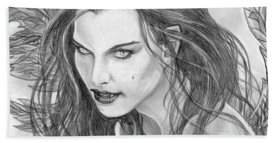 Vampiress Bath Towel featuring the drawing 25 by Kristopher VonKaufman