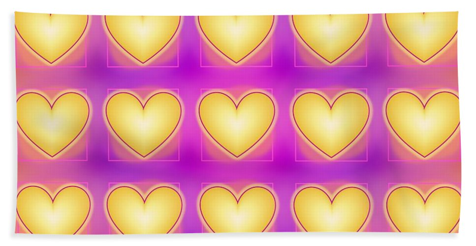 Yellow Love Hearts Hand Towel featuring the digital art 25 Little Yellow Love Hearts by Geraldine Cote