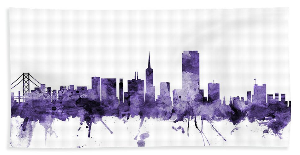 San Francisco Hand Towel featuring the digital art San Francisco City Skyline by Michael Tompsett