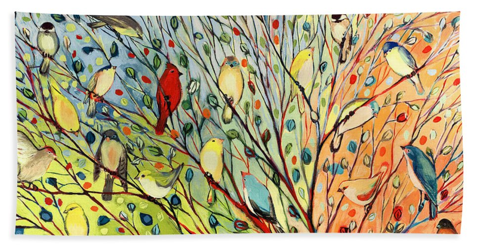 Bird Bath Towel featuring the painting 27 Birds by Jennifer Lommers