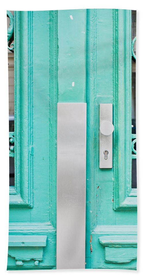 Access Hand Towel featuring the photograph Blue Door by Tom Gowanlock
