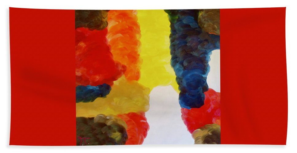 Clouds In Color Hand Towel featuring the painting Cloudworks by Troy Thomas