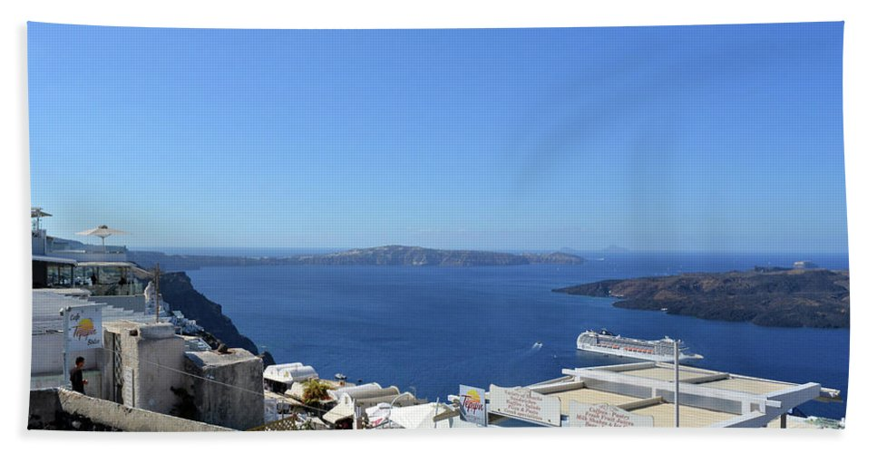 Santorini Hand Towel featuring the photograph 28 September 2016 White Houses By The Sea In Santorini, Greece by Oana Unciuleanu