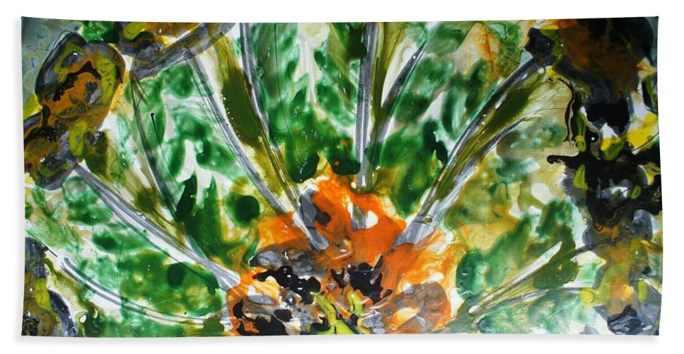 Flowers Hand Towel featuring the painting Divine Blooms by Baljit Chadha