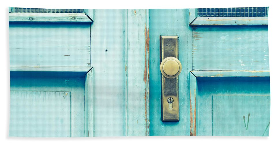Aged Hand Towel featuring the photograph Blue Door by Tom Gowanlock