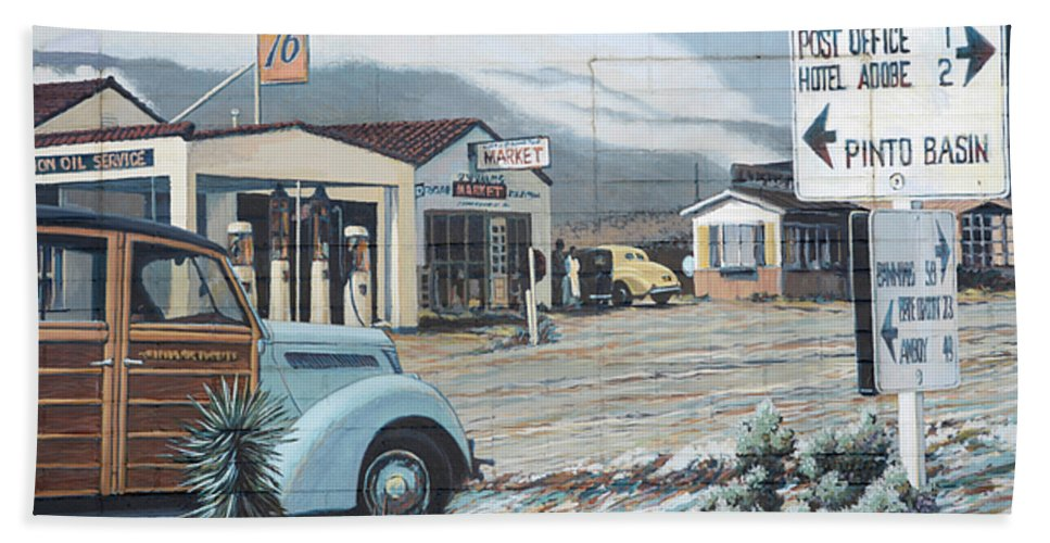29 Palms Bath Sheet featuring the photograph 29 Palms Flood Mural by Bob Christopher