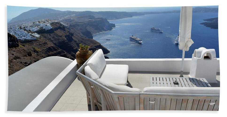 Santorini Hand Towel featuring the photograph 29 September 2016 Lounge Terrace And The View Of Volcanic Caldera In Santorini, Greece by Oana Unciuleanu