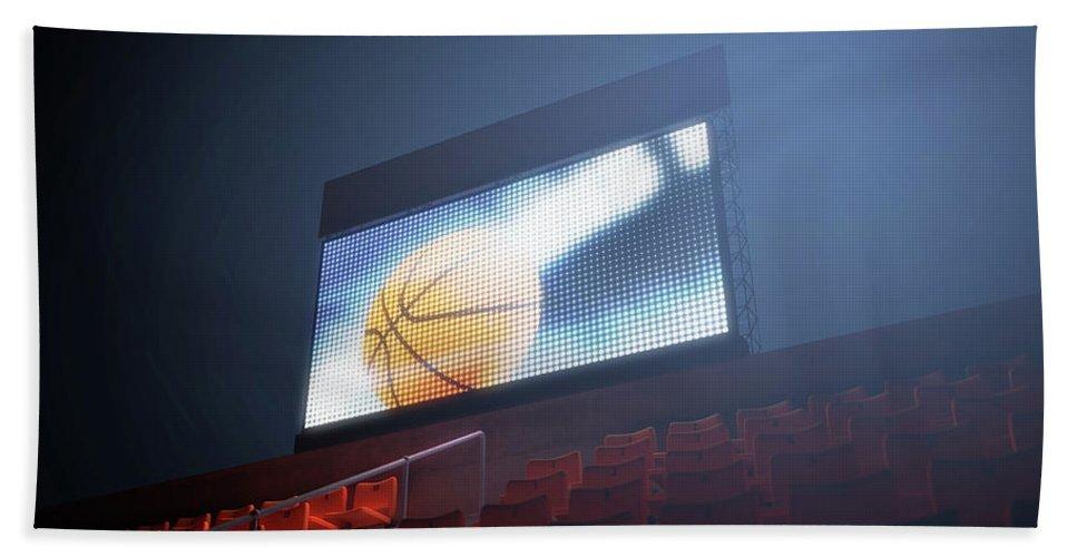 Scoreboard Bath Towel featuring the digital art Sports Stadium Scoreboard 29 by Allan Swart