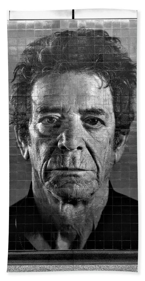 Art Hand Towel featuring the photograph 2nd Ave Subway Art Lou Reed B W by Rob Hans