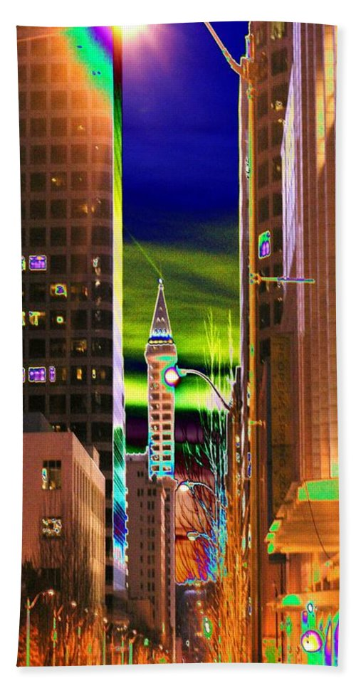 Seattle Bath Sheet featuring the photograph 2nd Avenue Sunrise by Tim Allen