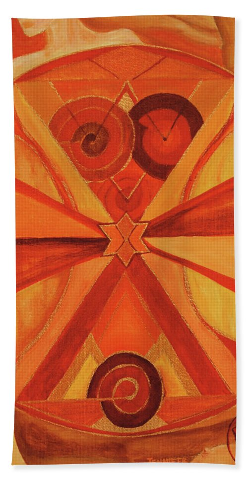 Mandala Bath Sheet featuring the painting 2nd Mandala - Sacral Chakra by Jennifer Christenson