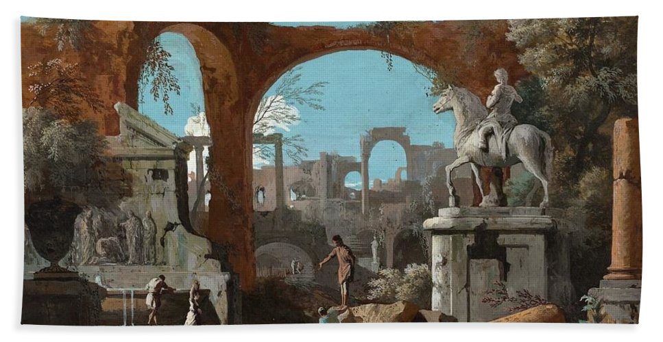 Marco Ricci (belluno 1676-1729 Venice) Bath Sheet featuring the painting A Capriccio Of Roman Ruins by Marco Ricci