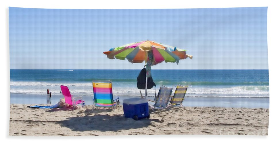Beach Bath Sheet featuring the photograph A Day At The Beach by Madeline Ellis