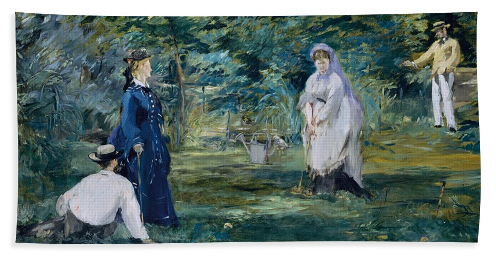 Arts Hand Towel featuring the painting A Game Of Croquet by Edouard Manet