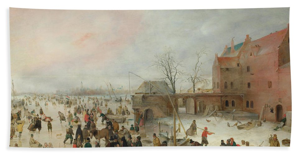 Scenery Bath Towel featuring the painting A Scene On The Ice Near A Town by Hendrick Avercamp