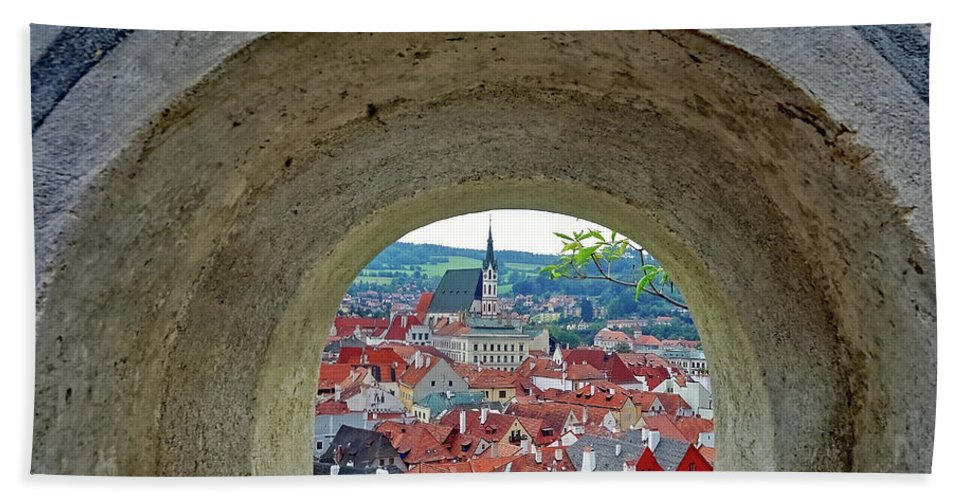 Cesky Krumlov Hand Towel featuring the photograph A View Of Cesky Krumlov In The Czech Republic by Richard Rosenshein