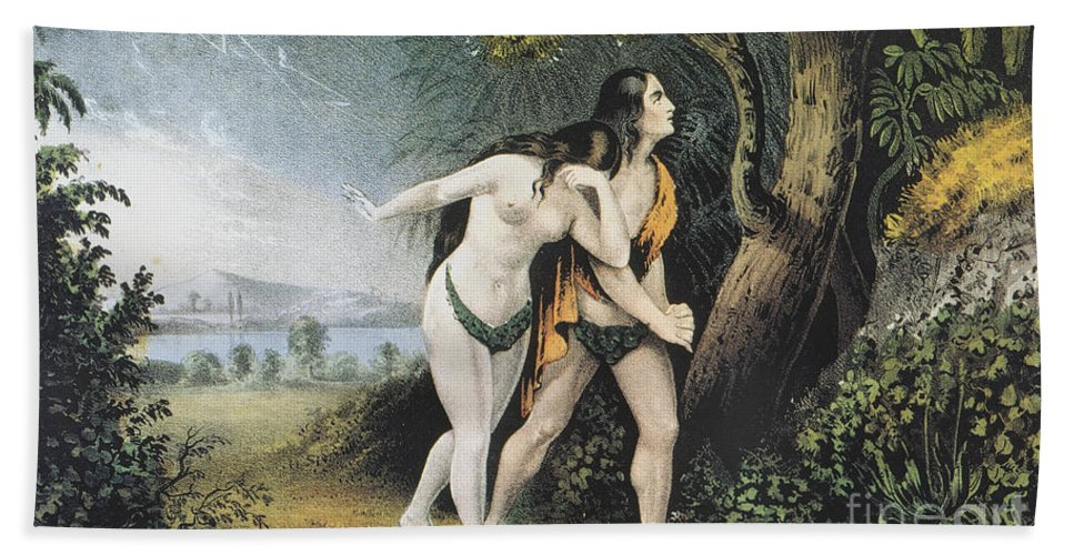 Adam Hand Towel featuring the photograph Adam And Eve by Granger